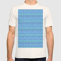 Aztec duo color blue pattern Mens Fitted Tee Natural SMALL