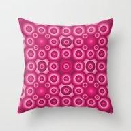 Pink Monochrome Geometri… Throw Pillow