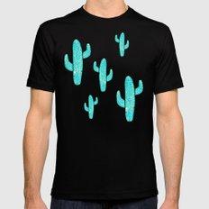 Linocut Cacti Desert Black Mens Fitted Tee SMALL
