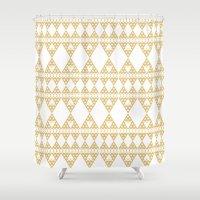 Golden Lace Shower Curtain