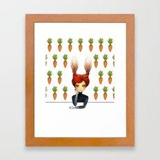 the rabbit girl with carrot wallpaper Framed Art Print