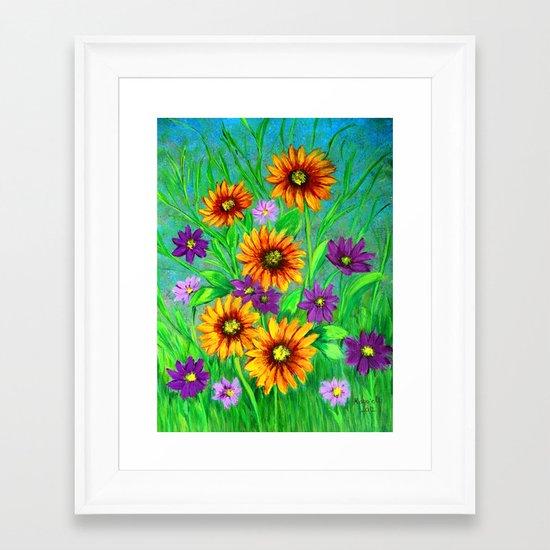 Flowers in my garden  Framed Art Print