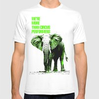 African Elephant Mens Fitted Tee White SMALL