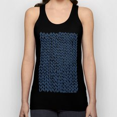Hand Knit Navy Unisex Tank Top