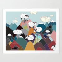 Clouds and Sheep Art Print