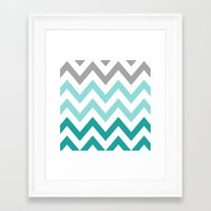 TEAL FADE CHEVRON Framed Art Print
