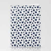 Blue stars on white background illustration Stationery Cards