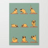 Canvas Print featuring Pug Yoga by Huebucket