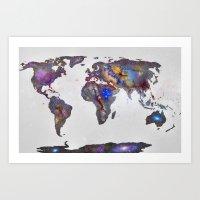 Stars World Map Art Print
