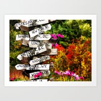 Signpost In The Fall Art Print