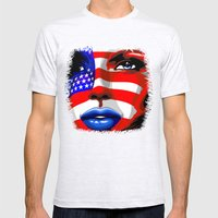 Usa Flag on Girl's Face Mens Fitted Tee Ash Grey SMALL
