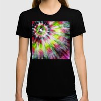 Kiwi Tie Dye Watercolor Womens Fitted Tee Black SMALL