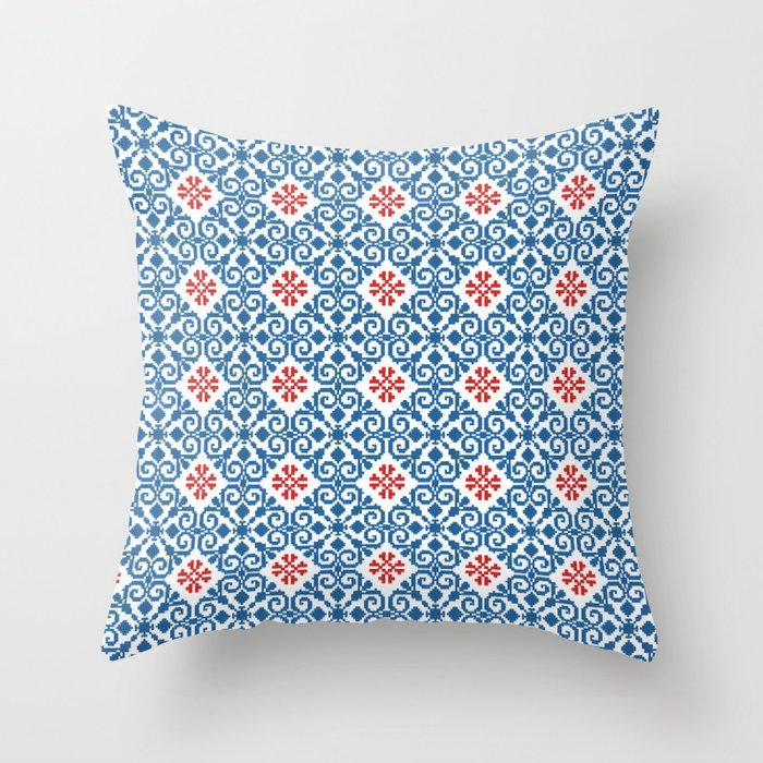 Red and Blue Throw Pillow by FolkDrops Society6
