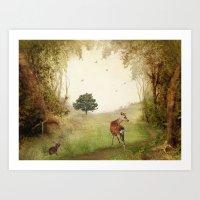 Woodland Friends Art Print