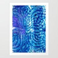 Blue curving Art Print