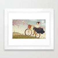 Happy Biking Day Framed Art Print