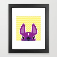 Purple Chevron Frenchie Framed Art Print