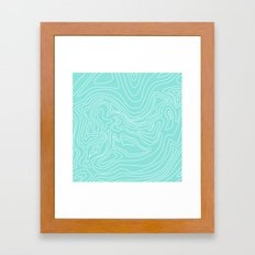 Ocean depth map - turquoise Framed Art Print