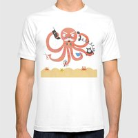 A Busy Octopus Works In … Mens Fitted Tee White SMALL