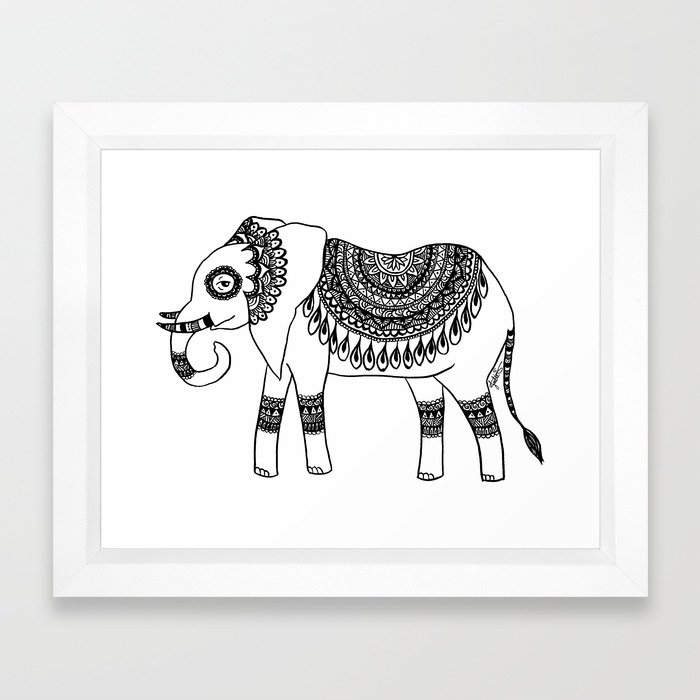 Henna Elephant framed art print