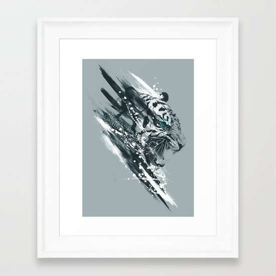 white tigra Framed Art Print