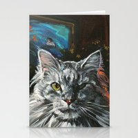Two Faces of the Main Coon Cat Stationery Cards