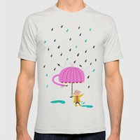 one of the many uses of a flamingo - umbrella Mens Fitted Tee Silver SMALL