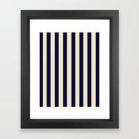 Navy Stripes Framed Art Print