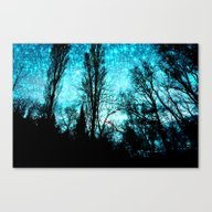 Canvas Print featuring Black Trees Teal Space by 2sweet4words Designs