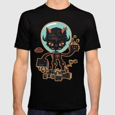 DJ Hammerhand cat - party at ogm garden Mens Fitted Tee SMALL Black