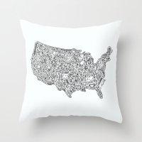 Floral USA  Throw Pillow