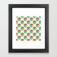 Rubiks Cube Pattern Framed Art Print