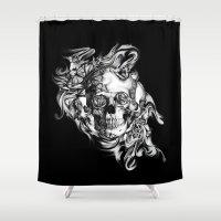 Butterfly smoke skull on black base.  Shower Curtain