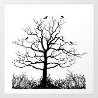 Graffiti Tree B/W Art Print