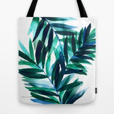 Palm Leaves - Teal Ombre Tote Bag