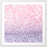 Pink and Lavender Glitter Art Print
