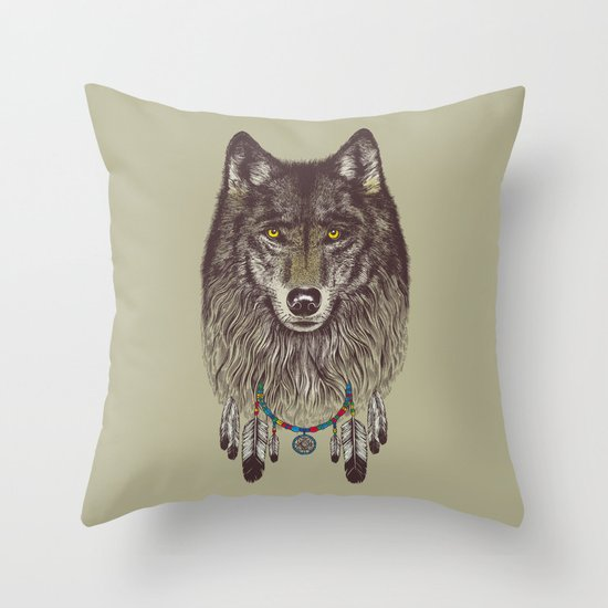 Wind Catcher Wolf Throw Pillow