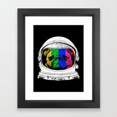 Astronaut Pug Framed Art Print