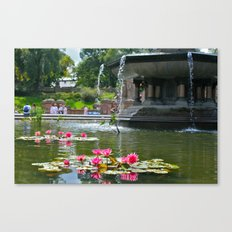 Central Park Flowers in Fountain Canvas Print