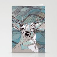 Aqua Deer  Stationery Cards