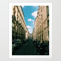 Spring in Paris - Le Marais Street Scene Art Print