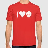 I Love Skulls Mens Fitted Tee Red SMALL