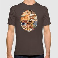Glitch Pin-Up Redux: Natalie Mens Fitted Tee Brown SMALL