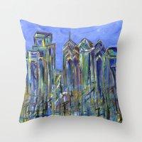 Blue Philadelphia Skyline Throw Pillow