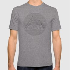 Mountain lines Mens Fitted Tee Tri-Grey SMALL