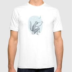 'Contemplation' White SMALL Mens Fitted Tee