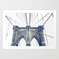 Brooklyn Bridge Grey Art Print
