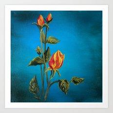 Tahitian Sunset Rose Buds Art Print
