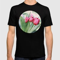 Twilight Tulips Mens Fitted Tee Black SMALL