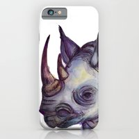 iPhone & iPod Case featuring Rhino Blues by mendydraws